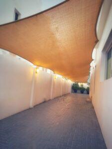 Lengthy car park sun shade installation in Jumairah 2